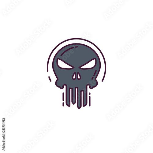 Punisher skull line style illustration Fototapet