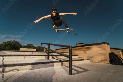 Skate day with a boy Canvas Print