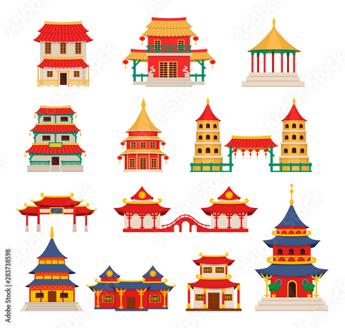 Traditional chinese buildings, asian architecture chinatown vector Fototapete