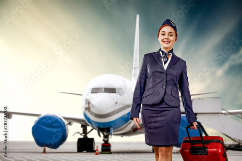 Young stewardess and airplane Canvas Print