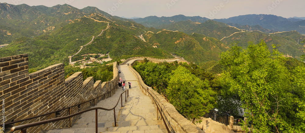 Great Wall of China in summer landscape.