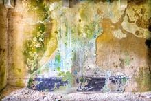 Verwitterte Wand In Einem Verlassenen Gebäude