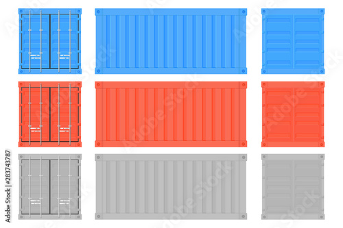 Shipping freight container. Colored intermodal containers set Canvas Print