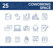 Coworking space icon set