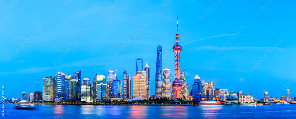 Fototapeta Shanghai cityscape commercial building at night