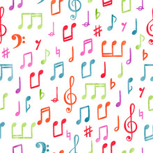Seamless Colorful Music Notes Pattern. Musical Watercolor Background.