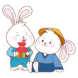 Rabbits in mid autumn festival cartoons
