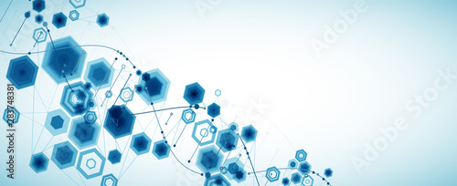 Fotografía  Science template, abstract background with a 3D DNA molecules