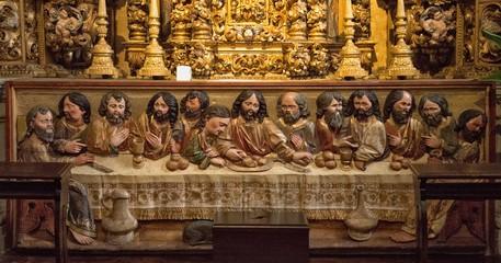 La Dernière Cène sur un autel baroque dans l'église d'Arcos de Valdevez, Portugal