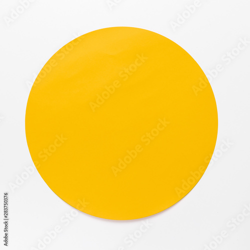 Fototapeta Top view yellow circle on white background obraz na płótnie
