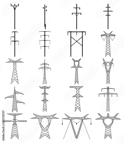 Papel de parede Set of electric tower line icon. High voltage electric pylon.