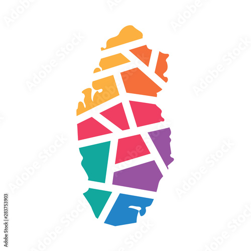 colorful geometric Qatar map- vector illustration - Buy this ...