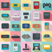 Console Icons Set. Flat Set Of...