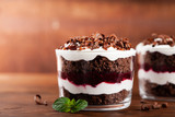 Layered trifle dessert with chocolate sponge cake, whipped cream and fruit jelly in serving glasses.