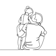 Continuous Line Drawing Of Father And His Daughter Vector Illustration Trendy Character Minimalist Design