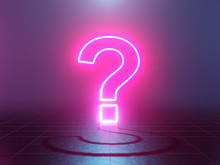 Neon Glowing Question Mark Abs...