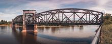 Old Railway Bridge Over The Elbe In Magdeburg, Germany