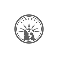 Retro Vintage Liberty Head Sculpture Statue Silhouette Logo Design Vector
