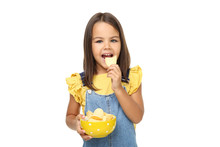 Beautiful Little Girl With Potato Chips In Bowl On White Background