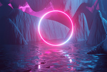 Glowing Neon Circle, Portal, Gate Against The Backdrop Of A Red-blue Abstract Fantastic Landscape. 3D Rendering
