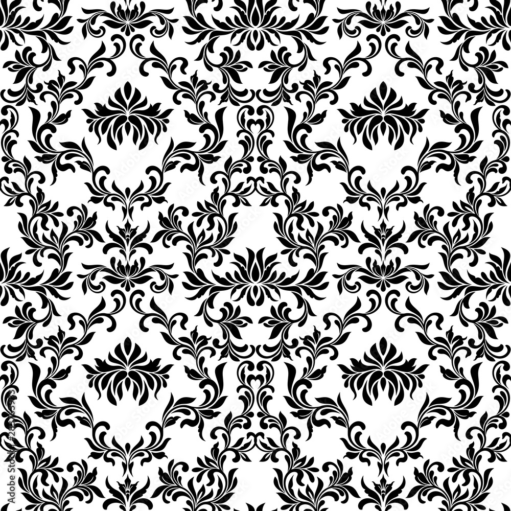 Luxury seamless pattern. Wallpaper in vintage style. Background Damask. Texture for print, wallpaper, home decor, textile, package design