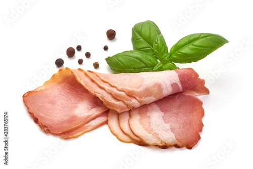 obraz lub plakat Slices of jamon, isolated on white background