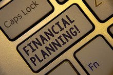 Handwriting Text Writing Financial Planning Motivational Call. Concept Meaning Accounting Planning Strategy Analyze Golden Keyboard With Jet Gray Button Presents Black Words And Capslock Key
