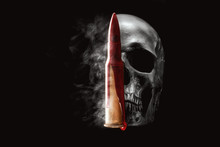 Human Skull, Bullet, Blood And...
