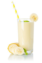 Banana Smoothie Fruit Juice Drink Straw Milkshake Milk Shake In A Glass Isolated On White