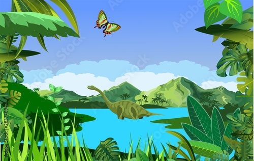 A high quality background of prehistoric landscape with dinosaurs ancient plants