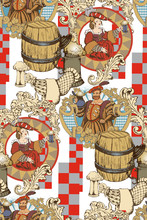 Seamless Pattern Using Motifs Of Renaissance Parties. Good For Decorating A Cafe, As Well As For Celebrating Oktoberfest