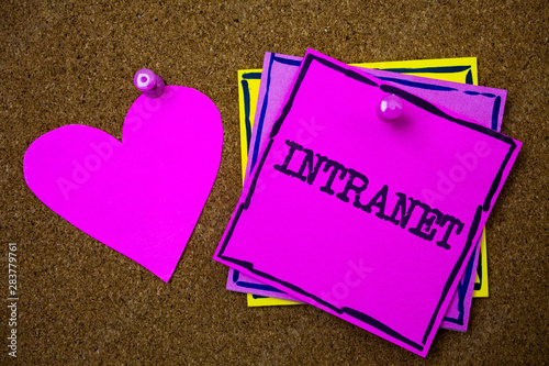 canvas print motiv - Artur : Writing note showing Intranet. Business photo showcasing Private network of a company Interlinked local area networks Papers pink heart cork background ideas love lovely message remember