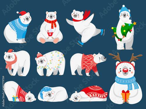 Printed kitchen splashbacks Illustrations Christmas polar bears. Arctic bear with New Year gifts, happy snow animal in Merry Christmas sweater. 2020 bears mascot character, Xmas cartoon vector illustration set