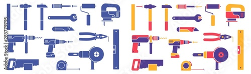 Obraz Hand-held working tools - set of icons. Colorful and monochrome silhouettes. Vector illustration. - fototapety do salonu