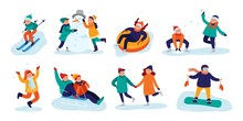 Winter Kids Activities. Snow Games, Smiling Little Girls And Boys In Winters Clothes Fun Outdoors. Christmas Holidays Activity, Making Snowman Or Skiing. Isolated Vector Illustration Icons Set