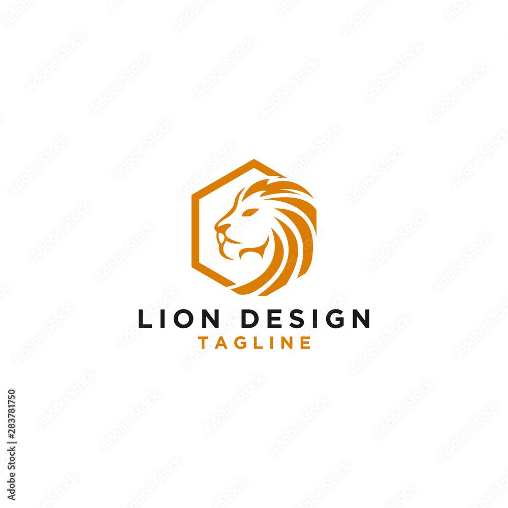 Fototapeta Vector Logo Lion Design Hexagon Monogram Template Icon EPS 10 Logo Design - Vector
