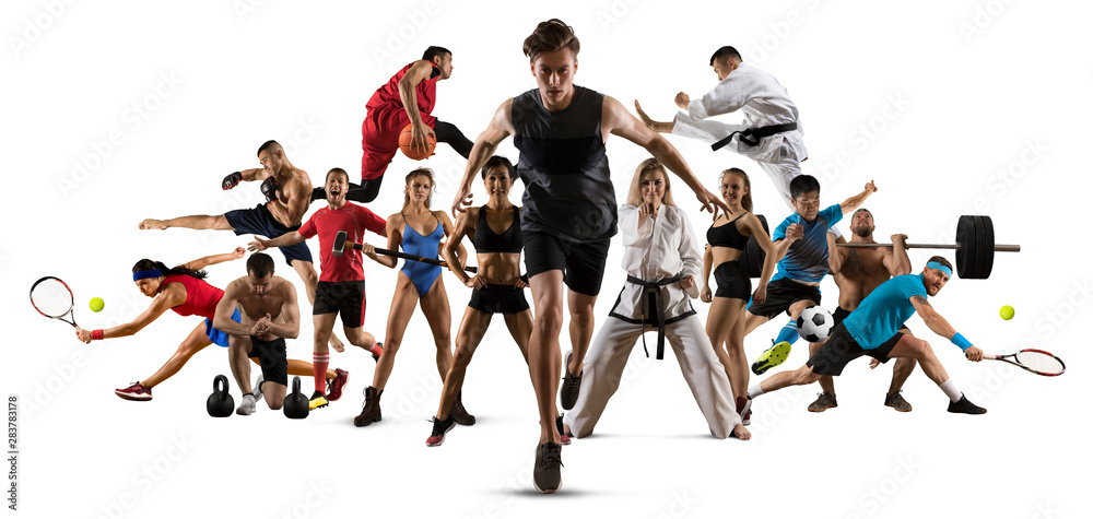 Fototapety, obrazy: Sport collage. Running, soccer, fitness, bodybuilding, tennis, fighter and basketball players