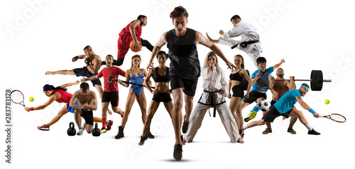 Sport collage. Running, soccer, fitness, bodybuilding, tennis, fighter and basketball players - 283783178