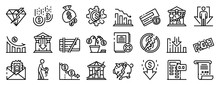 Bankrupt Icons Set. Outline Se...
