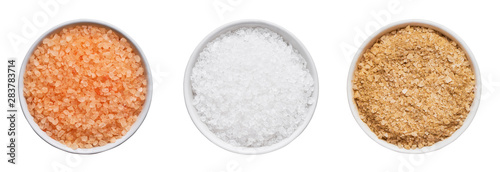 Foto op Plexiglas Spa SPA concept. Set of bath salt in bowl isolated over white background with clipping path. Top view