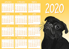 PUG Calendar For 2020 Year. Cu...