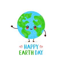 Cute Happy Smiling Kawaii Earth Planet