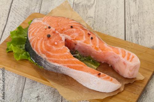 Fotografie, Obraz  Raw salmon steak - ready for grill