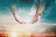 canvas print picture - The hand opened up from heaven To welcome prayer to God background Style Double exposure