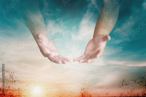 The hand opened up from heaven To welcome prayer to God background Style Double Fototapeta