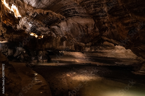 Underground caverns illuminated to show unique formations