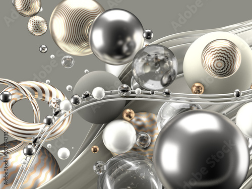 beautiful-abstract-background-with-volume-elements-balls-texture-lines-3d-illustration-3d-rendering
