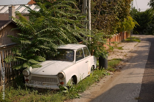 DIOSD, HUNGARY - SEPTEMBER 15, 2017: Old weathered Trabant on the street Canvas Print