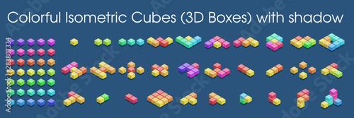 Kolorowe izometryczne kostki (pudełka 3D) z cieniem