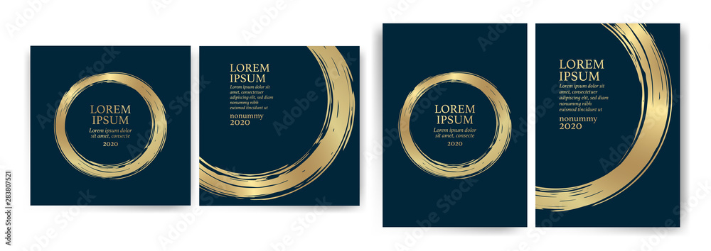Fototapeta Templates with blue and gold designs. Blue and gold strokes. Idea for wedding invitation, event, party, anniversary. Luxury, elegance, simple, artistic.